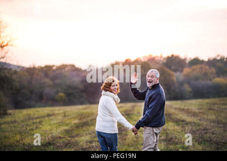Senior couple walking in an autumn nature, holding hands. - Stock Photo