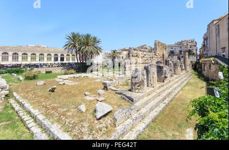 Syracuse in Sicily. View of ruins of Apollo temple  on Ortigia Island - Stock Photo