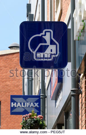 Looking up at the Nationwide Building Society logo sign with a Halifax sign in the background, Didcot, Oxfordshire, England, UK - Stock Photo