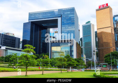 Hong Kong - August 01, 2018: View of Tamar Park and Central Government Complex Building - Stock Photo