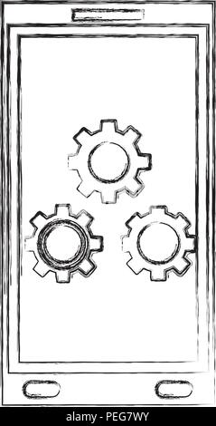 smartphone gears settings technology device hand drawing - Stock Photo