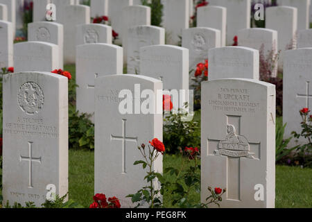 Headstones for known and unknown soldiers of the great war at the cemetery in the middle of Ypres - Stock Photo