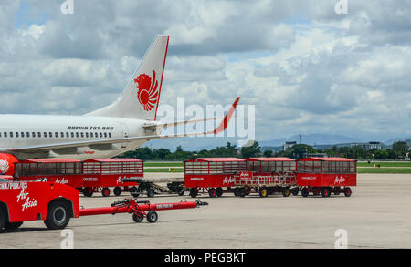 Chiang Mai, Thailand - Jun 22, 2016. A Boeing 737 airplane of Lion Air docking at Chiang Mai Airport (CNX). - Stock Photo