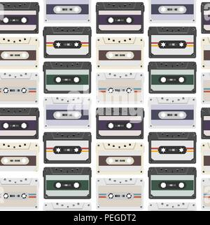 Vintage seamless pattern with analogue music cassettes. 80s Loopable background with magnetic audio tapes - Stock Photo