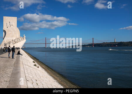 Monument to the Discoveries and the Tagus River, Belém, Lisbon, Portugal - Stock Photo