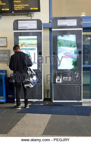 File photo dated 15/8/2018 of Self service ticket machines at Bristol Parkway railway station. Protests are expected outside railway stations today amid mounting anger over an expected 3.5% increase in regulated train fares. - Stock Photo