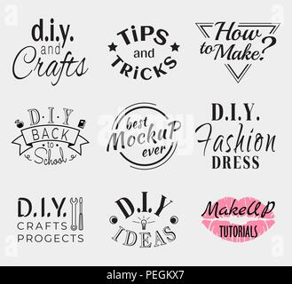 Retro Vintage Insignias or Logotypes set. Vector design elements, business signs, logos, identity, labels, badges, apparel, shirts, ribbons, stickers and other branding objects. - Stock Photo