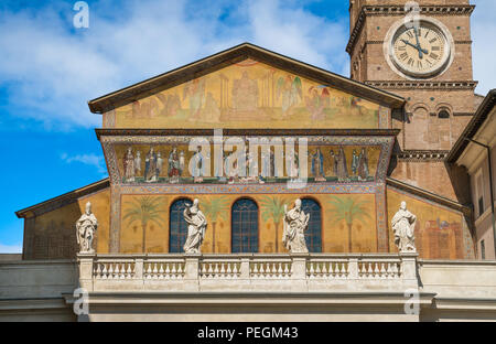 Facade with medieval mosaic of the Basilica of Santa Maria in Trastevere, Rome, Italy. - Stock Photo