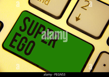 Writing note showing Super Ego. Business photo showcasing The I or self of any person that is empowering his whole soul Keyboard green key Intention c - Stock Photo