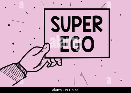 Word writing text Super Ego. Business concept for The I or self of any person that is empowering his whole soul Man hand holding paper communicating i - Stock Photo