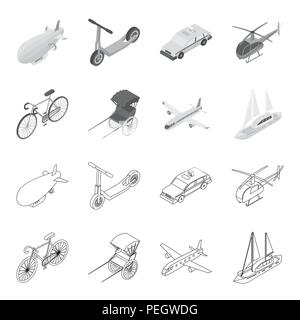 Bicycle, rickshaw, plane, yacht.Transport set collection icons in outline,monochrome style vector symbol stock illustration . - Stock Photo