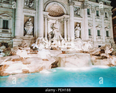 Night at Trevi Fountain with illumination, most famous fountain in Rome, Italy. - Stock Photo