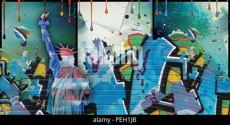 Modernism. Liberty statue in national colors with graffiti. - Stock Photo