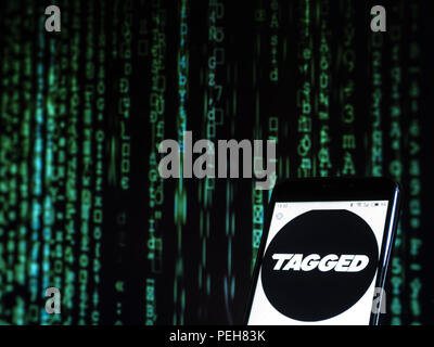 Kiev, Ukraine. 14th Aug, 2018. Tagged social networking website seen displayed on a smart phone. Credit: Igor Golovniov/SOPA Images/ZUMA Wire/Alamy Live News - Stock Photo