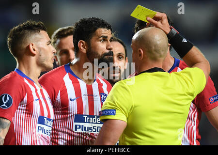 Tallinn, Estonia. 15th Aug, 2018. Diego Costa of Atletico Madrid (front 2nd L) reacts during the UEFA Super Cup match against Real Madrid at Lillekula Statium in Tallinn, Estonia, Aug. 15, 2018. Atletico Madrid won 4-2. Credit: Sergei Stepanov/Xinhua/Alamy Live News - Stock Photo