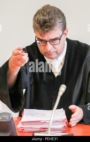 16 August 2018, Germany, Leipzig: Marcus Pirk, judge at the district court, opens a trial concerning a particularly serious breach of national peace. More than two and a half years after the riots of neo-Nazis in Leipzig's Connewitz district, the first defendants face their trial. During the riots on 11 January 2016, the windows of numerous shops were smashed and cars set on fire. Connewitz is considered a stronghold for leftist and autonomous groups.  More than 80 proceedings followed, each with two defen Credit: dpa picture alliance/Alamy Live News - Stock Photo
