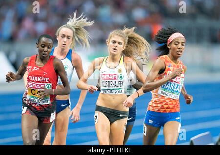 Berlin, Deutschland. 12th Aug, 2018. left to right Yasemin CAN (TUR/3rd place), Eilish MCCOLGAN (GBR/2nd place), Konstanze KLOSTERHALFEN, Germany, 4th place, winner Sifan HASSAN (NED/1st place), action. Final 5000m of women, on 12.08.2018 European Athletics Championships 2018 in Berlin/Germany from 06.08. - 12.08.2018.   usage worldwide Credit: dpa/Alamy Live News - Stock Photo