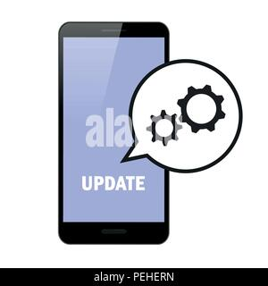 update updating software smartphone gears in speach bubble vector illustration EPS10 - Stock Photo