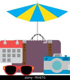 suitcase with umbrella and camera - Stock Photo