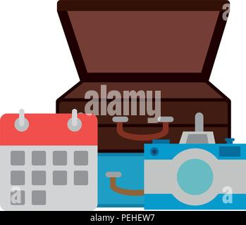 suitcase with camera and calendar - Stock Photo