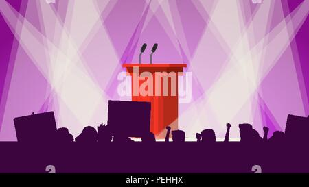 Political Meeting Audience Vector. Empty Tribune. People Crowd With Support Banners. Flat Cartoon Illustration - Stock Photo