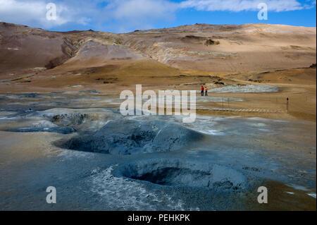 Hverarond or Namaskard, a volcanic area adjacent to Route 1 near Lake Myvatn, Iceland - Stock Photo