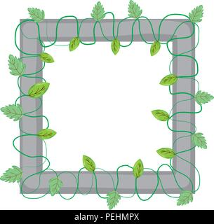 squard frame with branches leaves plants - Stock Photo