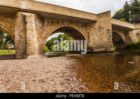 The scenic view of the bridge over the River Coquet at Rothbury,Northumberland,England,UK - Stock Photo