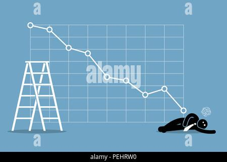 Vector artwork depicts financial failure, bearish stock market, bad sales, business loss, and investment lost. - Stock Photo