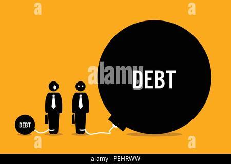 Vector artwork depicts debt and financial burden. - Stock Photo
