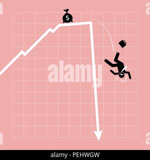 Vector artwork depicts financial crisis, lost of investment, and economic failure. - Stock Photo