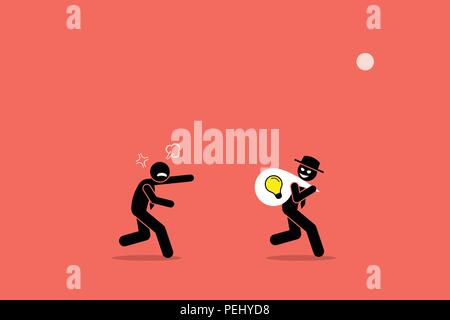 Vector artwork illustration depicts the concept of business thief, copyright infringement, plagiarism , bad person, dishonest, underhand, and cheater. - Stock Photo