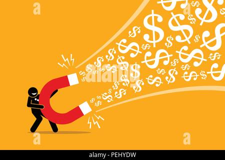 Vector artwork illustration depicts the concept of making money, successful business idea, financial success, gain, and profit. - Stock Photo