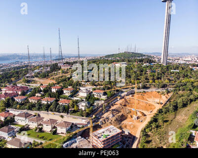Aerial View of Uskudar Camlica Construction in Istanbul Turkey. Cityscape. - Stock Photo