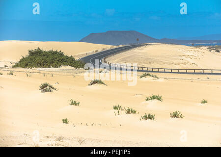 Winding road through sand dunes of Corralejo, Fuerteventura - Stock Photo