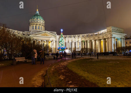 Saint Petersburg, Russia - January 3, 2018: View of Kazan Cathedral Sobor and Christmas Tree on Palace at night - Stock Photo