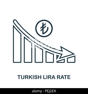 Turkish Lira Rate Decrease Graphic icon. Mobile app, printing, web site icon. Simple element sing. Monochrome Turkish Lira Rate Decrease Graphic icon  - Stock Photo