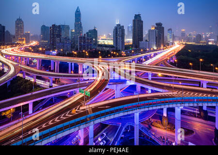 Yan'an elevated highway intersection in Shanghai, China - Stock Photo