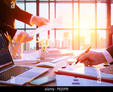 Workplace With Manager At Work - Business In Office - Stock Photo