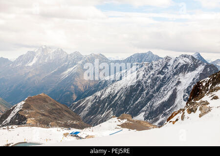 Ski resort in the Alps mountains, Austria, Stubai - Stock Photo