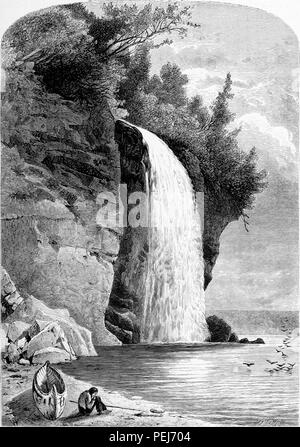 Black and white vintage print depicting a man sitting on a small spit of beach, in front of a canoe, with the Silver Cascade waterfall in the background, located near the town of Harts Location in New Hampshire, USA, published in William Cullen Bryant's edited volume 'Picturesque America; or, The Land We Live In', 1872. Courtesy Internet Archive. () - Stock Photo