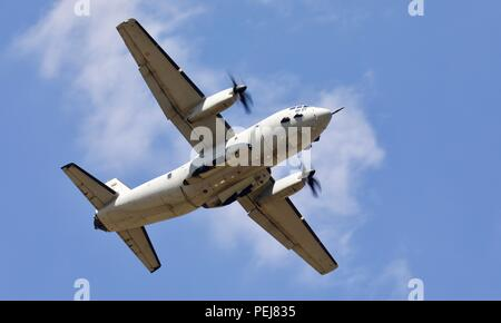 Alenia C-27J Spartan military transport aircraft operated by the Italian Air Force performing at the 2018 Royal International Air Tattoo - Stock Photo
