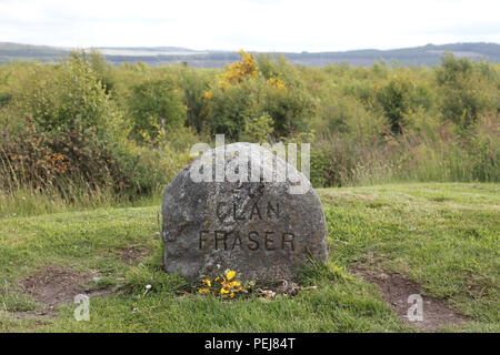 The headstone of the Clan Fraser to mark the graves of Jacobite soldiers killed at the Battle of Culloden in April, 1746