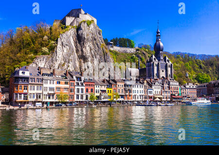Beautiful Dinant village,view with traditional houses over Meuse river,Belgium. - Stock Photo