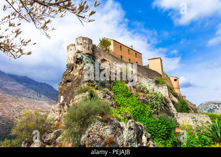 Impressive castle in Corte village,Corse,France. - Stock Photo