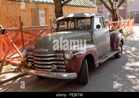 1950 Chevrolet pickup truck parked on a street in Vancouver, BC, Canada - Stock Photo
