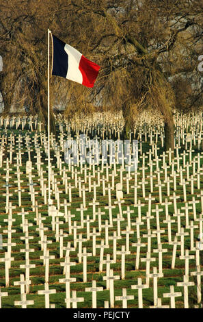 Caption below from Travel France website and is subject to copyright. La Targette French cemetery is located in La Targette in Neuville-Saint-Vaast. It contains the graves of 11,443 soldiers killed during the battles of Artois WWI, and 593 killed during WWII.  The village was completely destroyed during the Second Battle of Artois, an offensive that took place in May 1915. La Targette French Cemetery is located next to the British war cemetery, along the D55 road that links Lens to Maroeuil. La Targette French Cemetery was open in 1919. It contains the graves of 11,443 soldiers killed during t - Stock Photo