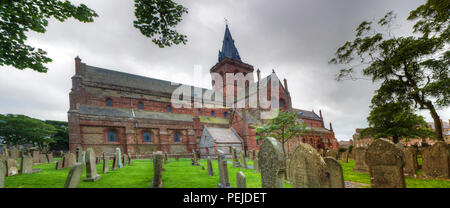A Panorama of St Magnus Cathedral in Kirkwall, Orkney, Scotland - Stock Photo