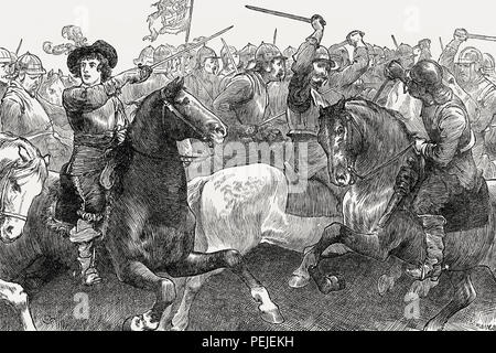 Prince Rupert of the Rhine, Duke of Cumberland, at the Battle of Edgehill, 23 October 1642, From British Battles on Land and Sea, by James Grant - Stock Photo