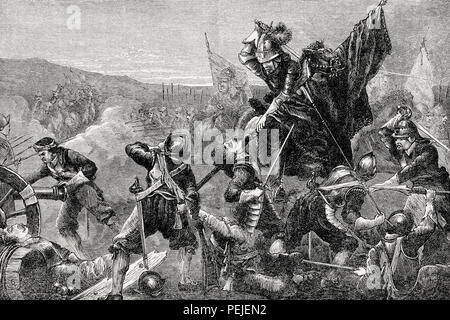 Battle of Naseby on 14 June 1645, English Civil War, From British Battles on Land and Sea, by James Grant - Stock Photo